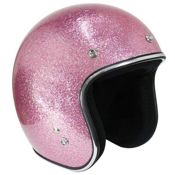 Outlaw Retro Pink Mega Flake Open Face Helmet - LeatherUp.com