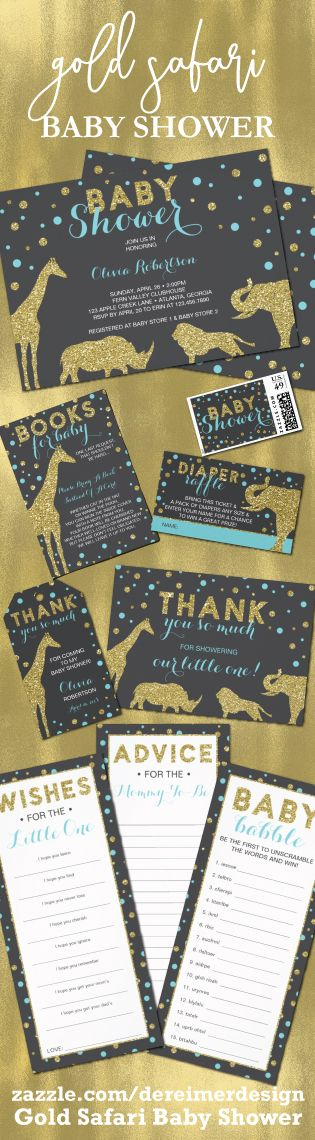 Gold Safari Baby Shower Collection in Aqua and Gold, Safari Baby Shower