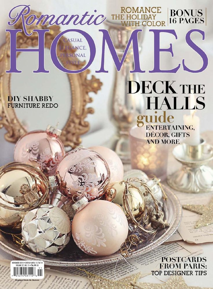 Romantic Homes November 2014 issue.  Look at for FREE on Issuu.com