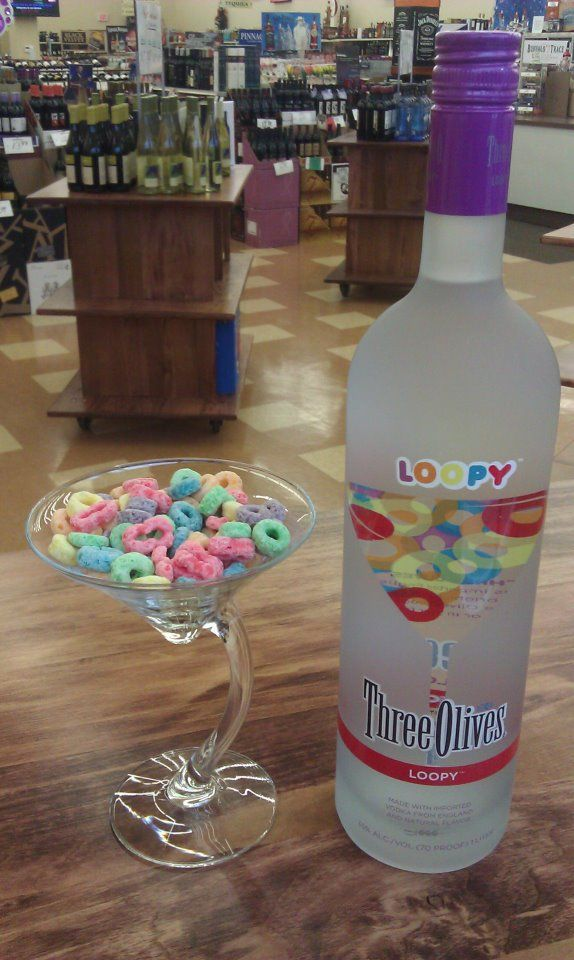 three olives loopy: Loopi Vodka, Froot Loops, Alcohol, Olives Loopi, Three Olives Vodka, Flavored Vodka, Cocktails, Fruit Loops Vodka Drinks, Food Drinks