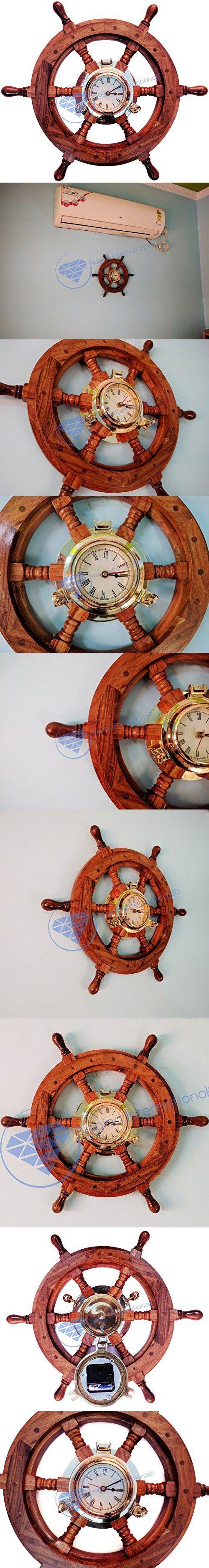 Sailor's Premium Home Decor Time's Clock Nautical Brass Porthole Ship's Wheel   Deluxe Office Decor   Wall Decor   Birthday Gift   Christmas Black Friday   Nagina International (18 Inches)