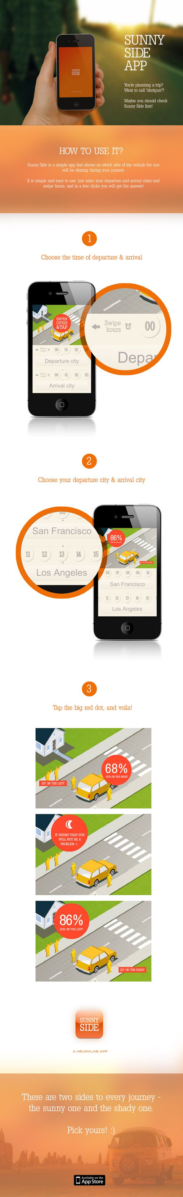 Planning a trip? Want to call 'shotgun'? Maybe you should check Sunny Side first! -  New mobile app for iOs devices.