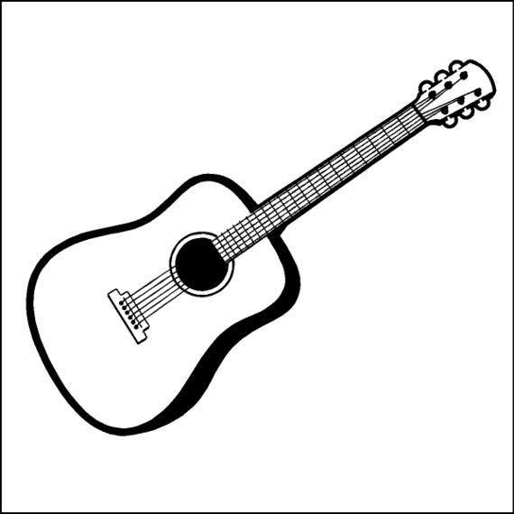 87 Acoustic Guitar Clipart Black And White