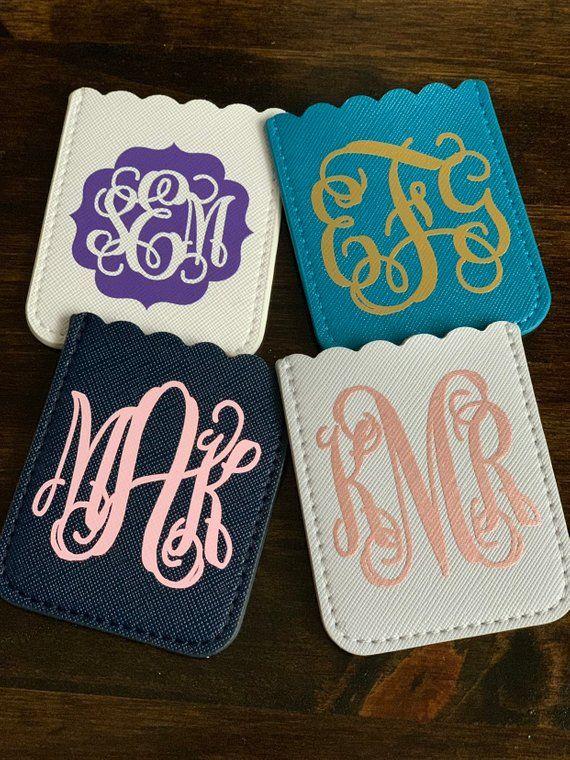 Custom Phone Card Holder, Monogram Phone Wallet, Monogrammed Credit Card Holder, Stick On Phone Wallet, Preppy Monogram Accessories