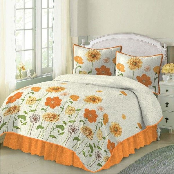 sunshine quilt orange 126 liked on polyvore featuring home bed - King Size Bed Sheets