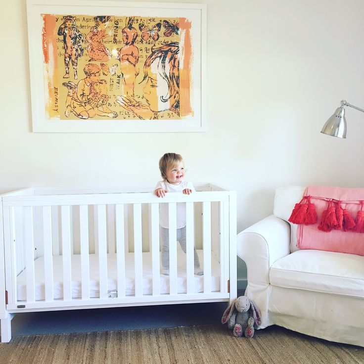 Nursery with David Bromley artwork, Kip&Co tassel throw