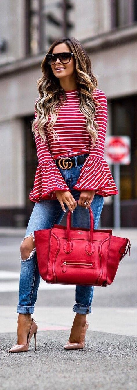 Perfect Intentions Striped Red Top (PREORDER)