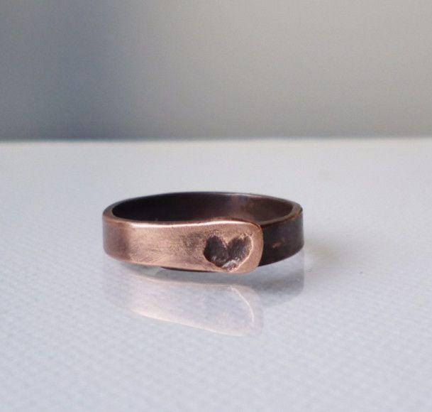 Ringe - Kupferring mit kleinen Herzen - ein Designerstück von Papery bei DaWanda