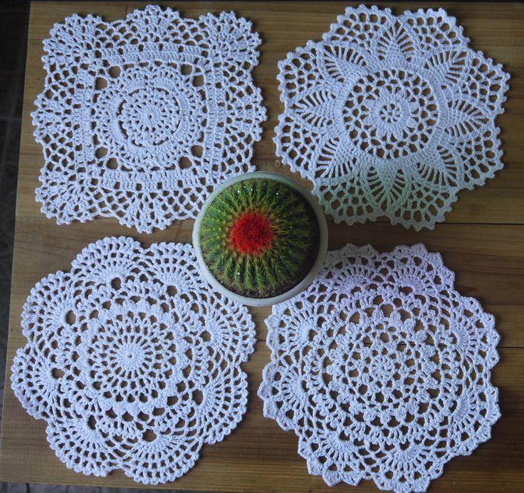 24Piece Handmade Crocheted Doilies pattern 4 designs coasters round Mat&Pad 20cm #Handmade