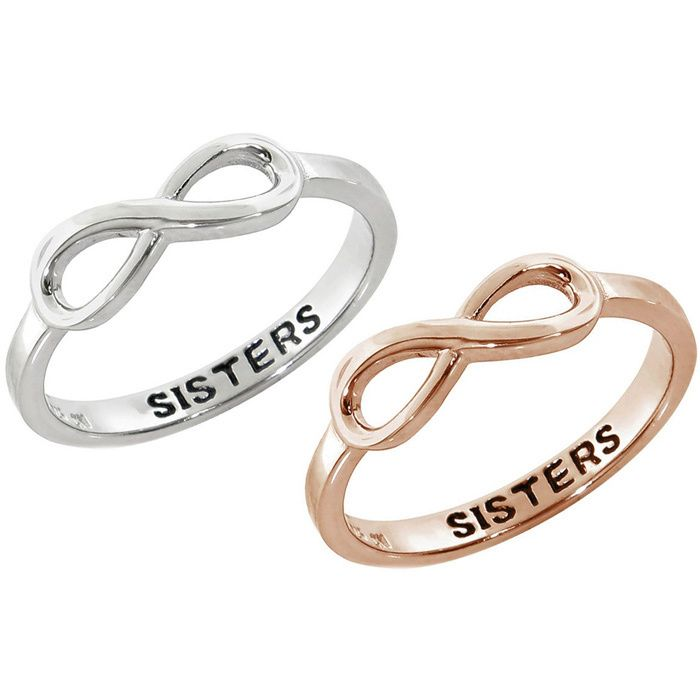 Featuring delicately engraved 'sisters' on the interior of the band these Sterling Silver Sentiment Infinity Rings by Eternally Haute these rings are both stylish and sentimental. These matching piece