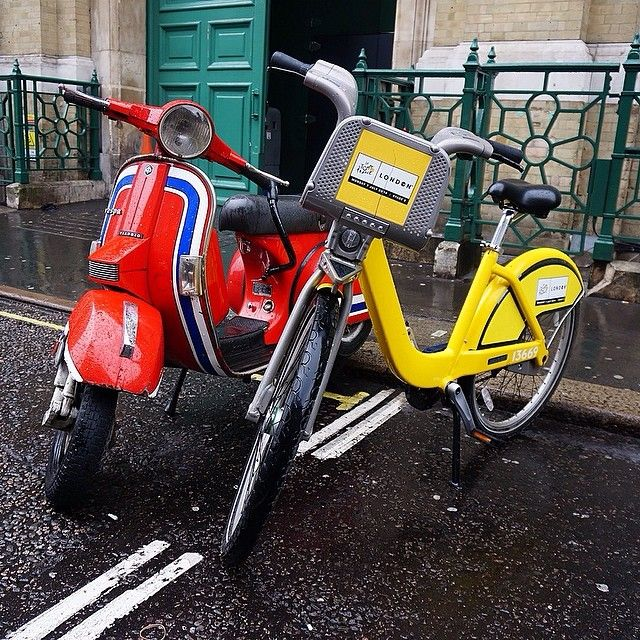 Very Cool Shot Of Yellow Bike Alongside A Vespa Near Covent Garden. Thanks  To Icreatelife_