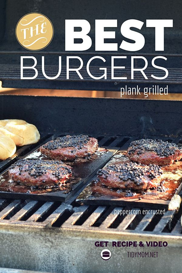 Plank Grilled Peppercorn and Provolone burgers. Recipe and video tutorial at TidyMom.net