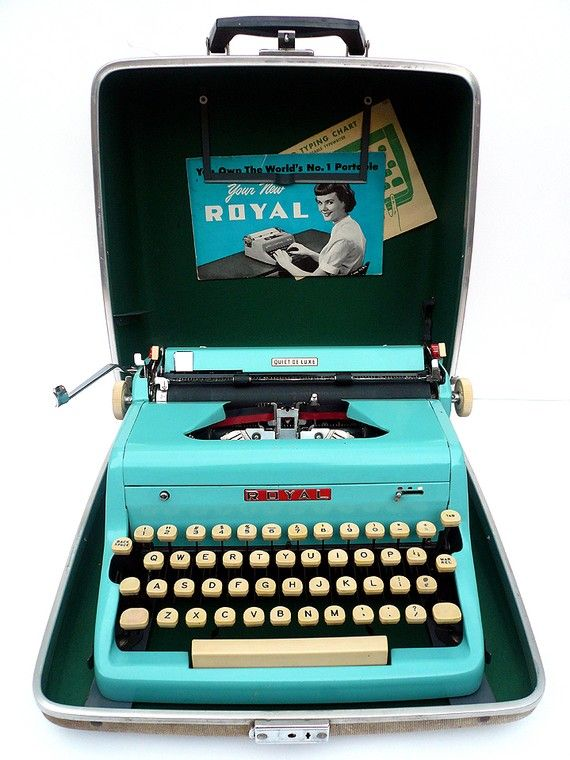 Vintage Royal Portable Typewriter Part - 30: Blue Royal Typewriter Iu0027m Pretty Sure My Mom Had One Of These. Playing With  It As A Child, I Messed Up The Ink Roll More Than Onc