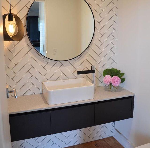 Floating vanity, herringbone tiles   Wattle Valley Kitchens