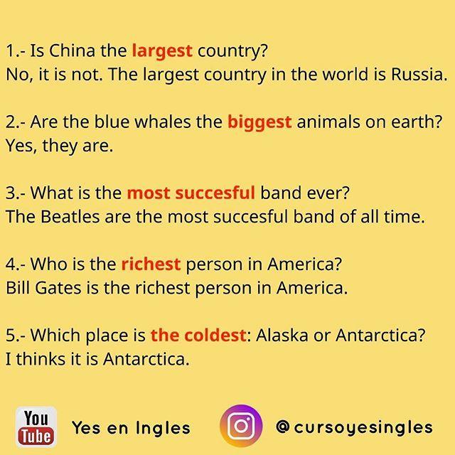 Preguntas Y Respuestas Con Superlativos Leccion Completa En Nuestro Canal De Youtube Yes En Ingles Link En Mi Bio Big Animals The Beatles Learn English