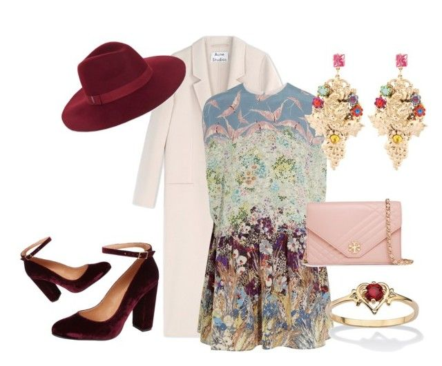 """""""Whimsy"""" by f-cassidy ❤ liked on Polyvore featuring Acne Studios, Valentino, Carvela Kurt Geiger, BCBGMAXAZRIA, Halo & Co., Palm Beach Jewelry, Tory Burch, women's clothing, women's fashion and women"""