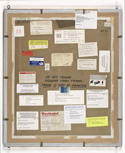 View of Robert Rauschenberg's Erased de Kooning Drawing (verso, framed) showing handwritten note about the frame and exhibition labels, 2012