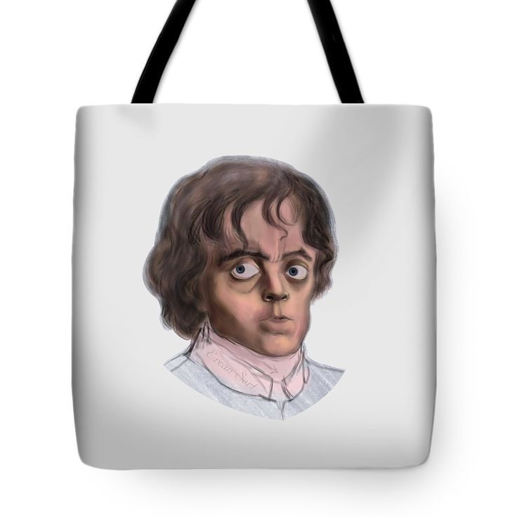 """Tyrion Tote Bag (18"""" x 18"""") by Erjan Sert.  The tote bag is machine washable, available in three different sizes, and includes a black strap for easy carrying on your shoulder.  All totes are available for worldwide shipping and include a money-back guarantee."""