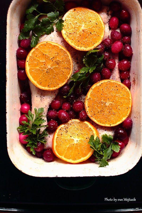 Pieczone gęsie nogi z pomarańczami i żurawiną #gryz