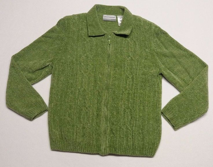 Alfred Dunner Petite Size XL Womens Green Zip Up Sweater Jacket            (C2) #AlfredDunner #Collared