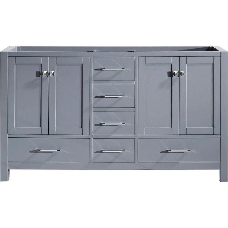 virtu usa caroline avenue 60 in w x 22 in d vanity cabinet only in grey