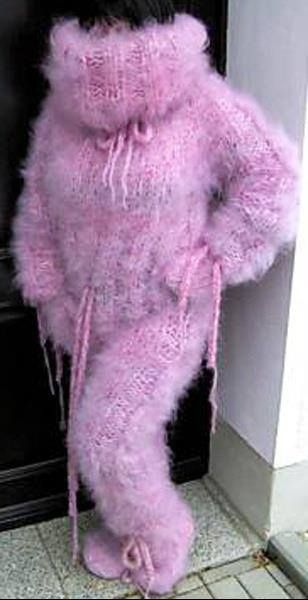 Fluffy pink catsuit