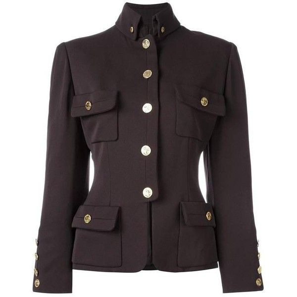 Preowned Chanel Vintage Military Jacket (56.355 RUB) ❤ liked on Polyvore featuring outerwear, jackets, multiple, military inspired jacket, chanel, chanel jacket, army jacket and brown jacket