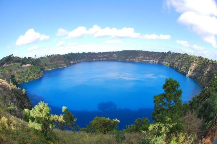 An aerial view of Blue Lake on Mount Gambier in South Australia ...
