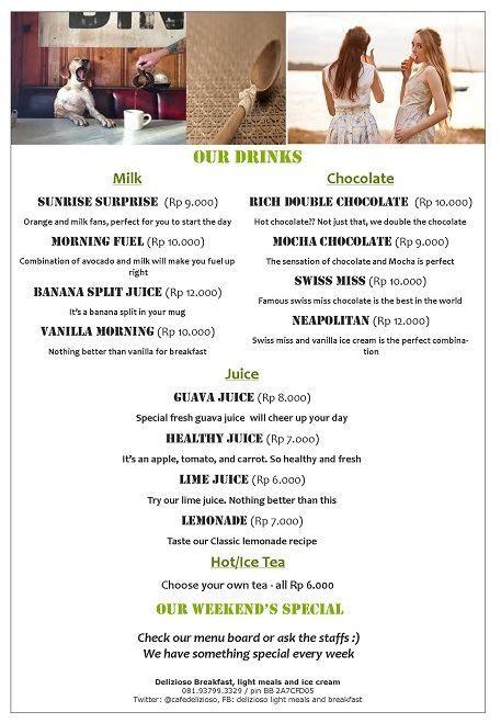 Our menu in delizioso Cafe