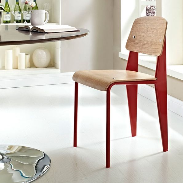 Cornwall Natural / Red Dining Chair | Modern Wood Dining Chair | Color  Block | Eurway