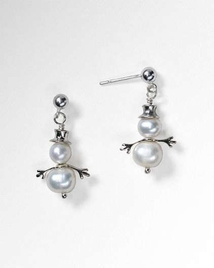 Pearl snowman earrings    Sure to melt someone`s heart. These whimsical snowmen are cheerful by nature, frosty and bright with cultured freshwater pearls and sterling silver accents. And they stay fresh season after season. About 1 in. long on sterling posts