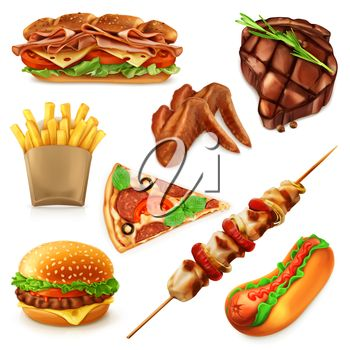 Fast food set vector icons