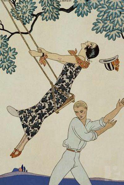 George Barbier (1882-1932) - French Art Deco Fashion Illustrator - swinging