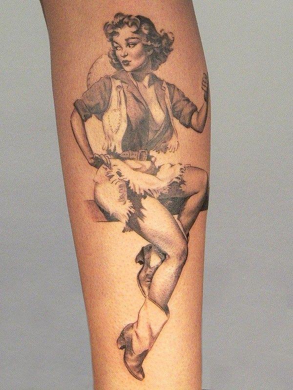 Cute pinup cowgirl tattoo by Xavier Garcia