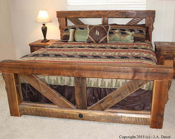 best 25 rustic bed frames ideas on pinterest diy bed frame king size bed frame and rustic bed - Wood Bed Frames Queen