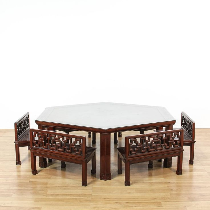 Chinese Rosewood Hexagon Table W/ 6 Bench Chairs