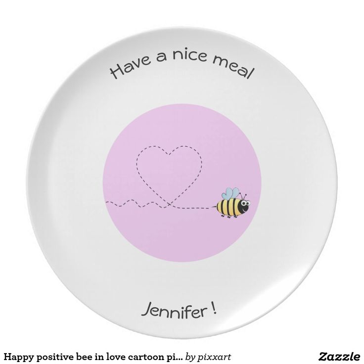 Happy positive bee in love cartoon pink dinner plate