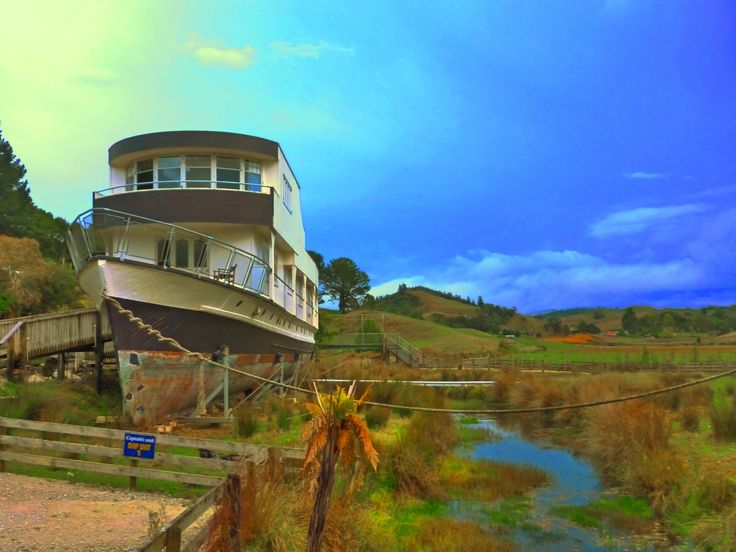 This boat can be hired for the night - far from the nearest sea, river or lake. Waikato, NZ