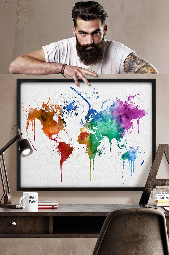 watercolor world map, watercolour print, World map poster, travel map, watercolor painting, large map, wall art, Home Decor, iPrintPoster.
