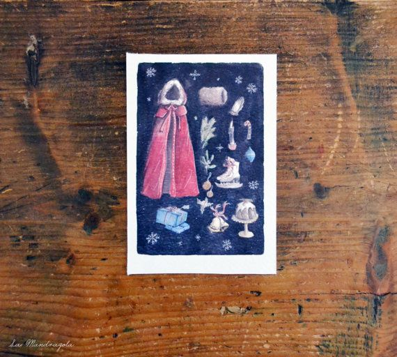 Christmas Lady cartolina acquerello originale ispirata al natale vittoriano by Mandragola #italiasmartteam #etsy