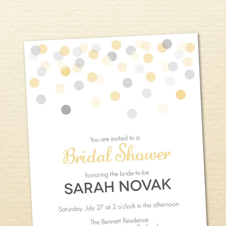 Printable Bridal Shower Invitation -- Confetti Collection No. 5. $15.00, via Etsy.    bridal shower invitation
