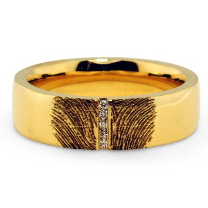 Fingerprint Horizon Ring from Brilliant Earth    Except without diamonds and not yellow gold, lol.