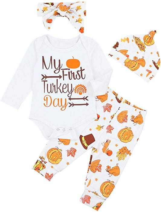 86285139f Amazon.com: Baby Boys Girls Outfits Newborn My First Thanksgiving Letters  Long Sleeve Romper Turkey Print Pants Clothes Set (6-9 M): Clothing
