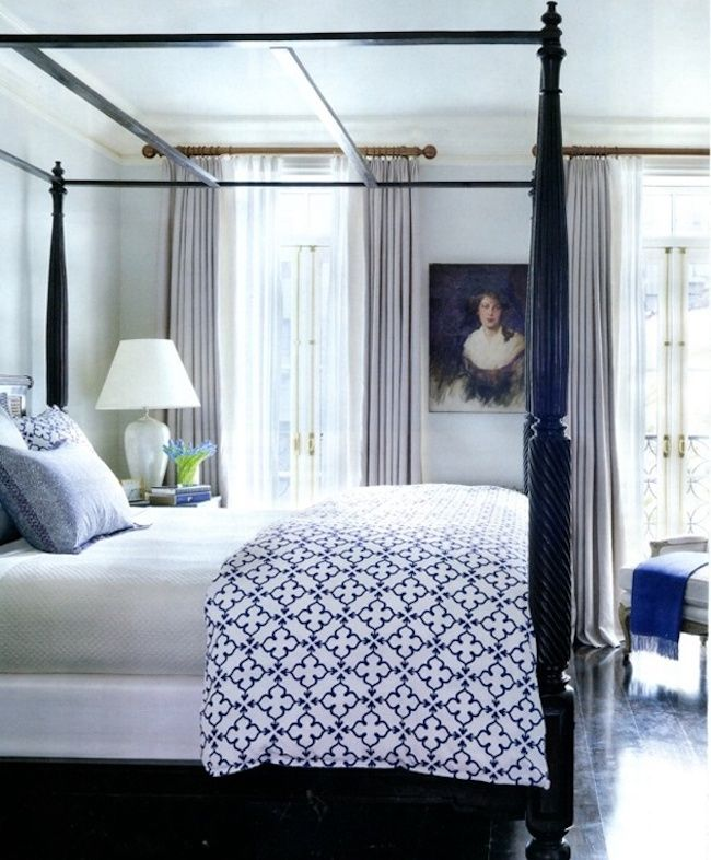 Quatrefoil Bedding on four-poster bed    Bedroom Inspiration: Four-Poster Beds - The Inspired Room