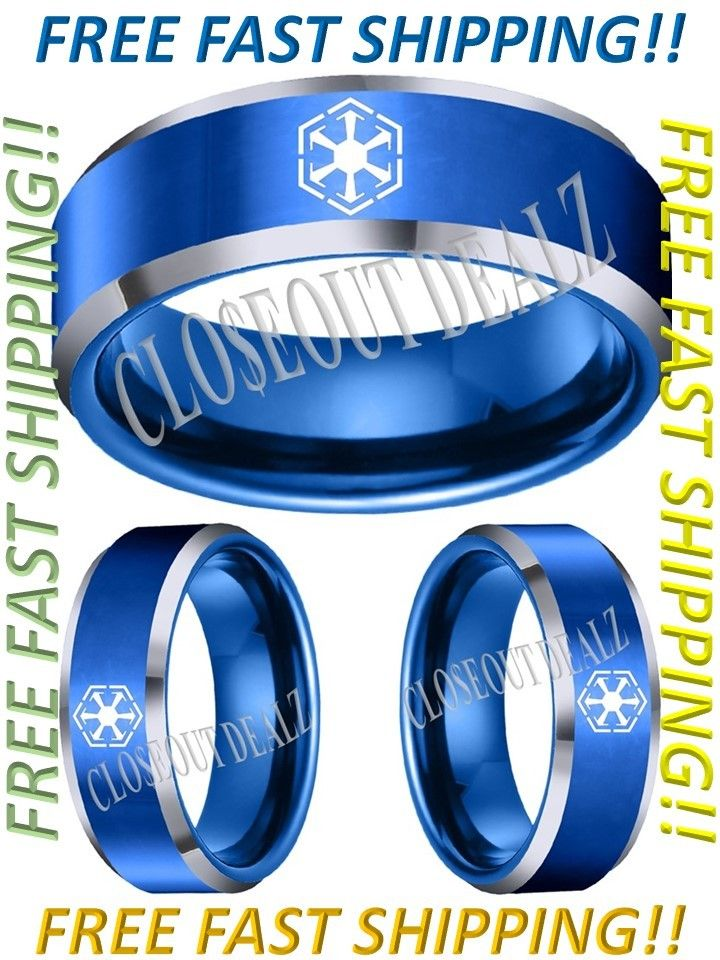 Star Wars Ring, Imperial Logo 8mm BlueTungsten ring, many sizes available.