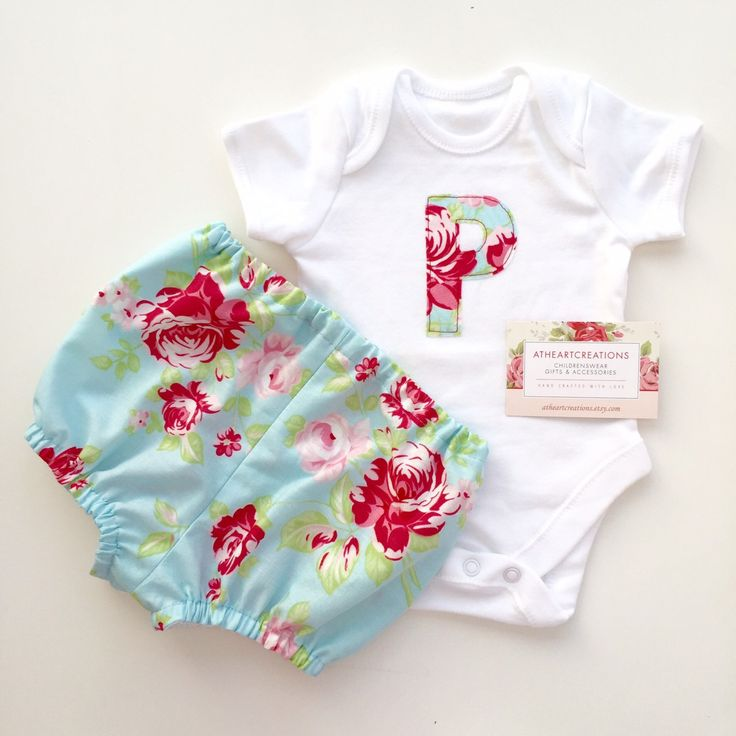 A beautiful custom order baby grow with matching nappy knickers!