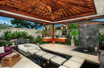 outdoor tub, sinks, mirrors, shower...Fabulous!  Tropical Home Outdoor Bathtub Design, Pictures, Remodel, Decor and Ideas - page 2
