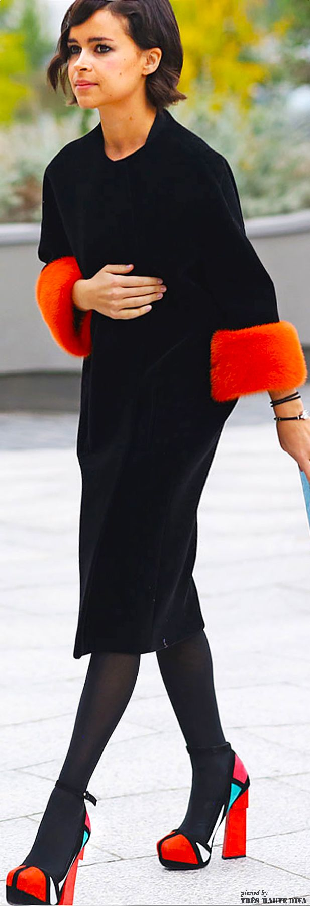 Whys she wearing her floats on the streets? Nice shoes though.   Mirodlava Duma in Aperlai shoes at Paris Fashion Week Spring 2014