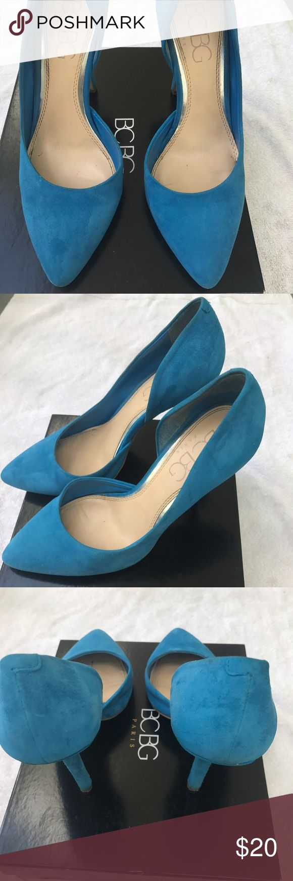 BCBG Paris Blue suede pump Blue suede d'Orsay pump BCBG Shoes Heels