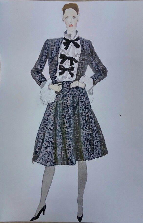 """Школа искуства костюма: работа Наташи Камаевой на курсе """" Школа модного рисунка""""."""